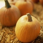 Pumpkins on Bale of Hay